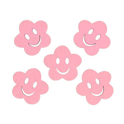 Holzblume mit Gesicht Rosa 2,5cm 48St