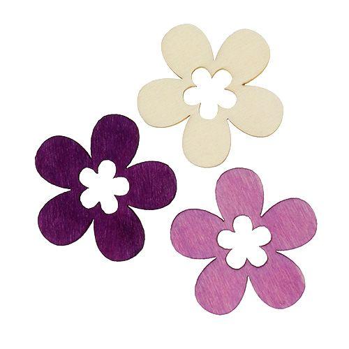 Holzblumen sort. Lila, Weiß 4cm 72St