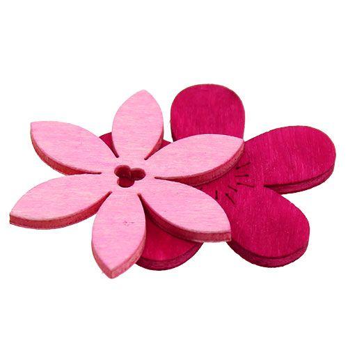Holzblumen 4cm Pink sort. 72St