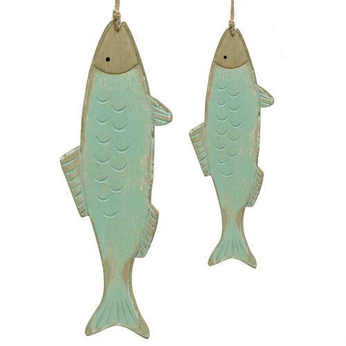 Dekohänger Holzfisch Grün 18cm bzw 24,5cm 2St