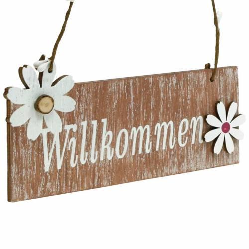 """Florales Wilkommensschild, Frühling, Türdeko """"Willkommen"""", Holzdeko zum Aufhängen 12St"""
