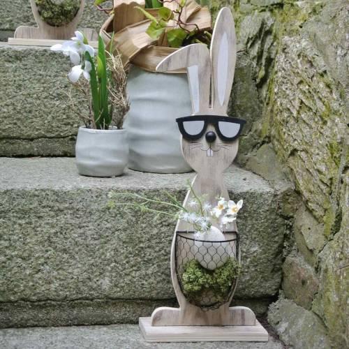Holzhasen mit Sonnenbrille und Korb Natur, Osterdeko, Hasen-Figur mit Pflanzkorb, Frühlingsdeko 2St