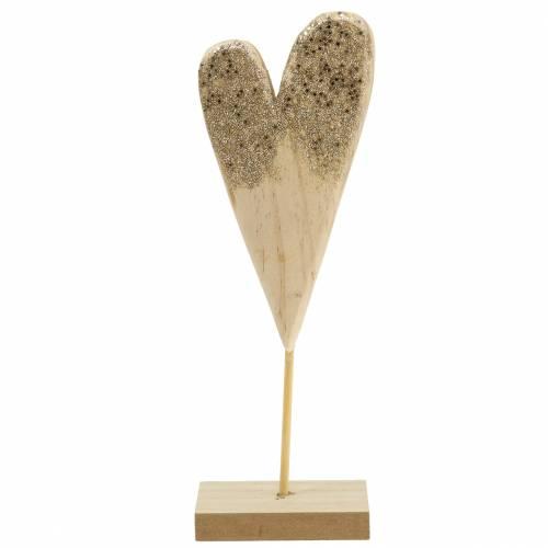 Deko Herz am Ständer Holz mit Glitter H27cm