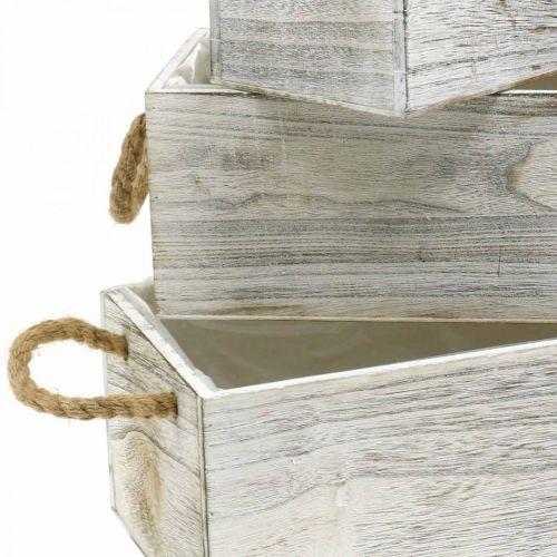 Blumenkasten, Holzkiste zum Bepflanzen, Übertopf, Pflanzgefäß-Set L35/30/25cm