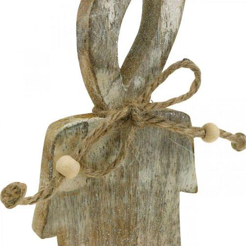 Holzkerze, Tischdeko Shabby Chic, Holzdeko mit Glitzereffekt H29,5cm