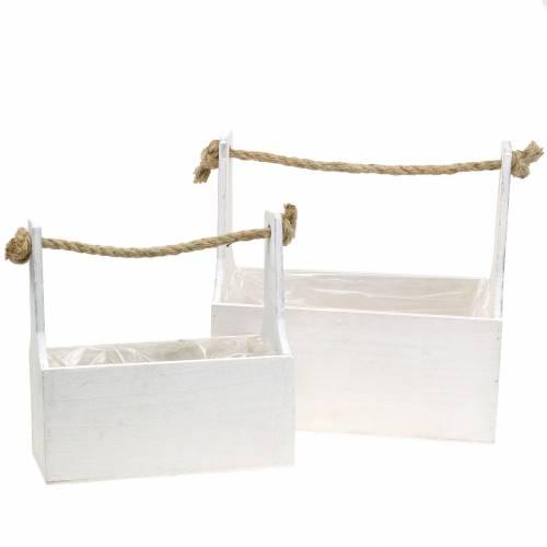 Pflanzkasten Werkzeugkiste mit Henkel Holzkiste Weiß 27×15cm/22×10,5cm