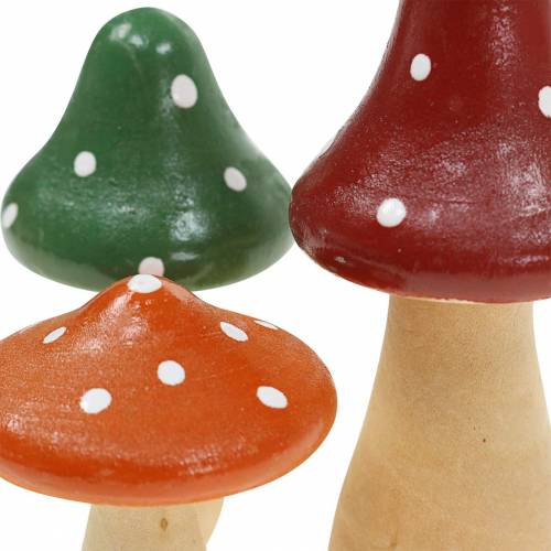 Deko-Fliegenpilze aus Holz Orange, Grün, Rot 6/8/10,5cm 9St