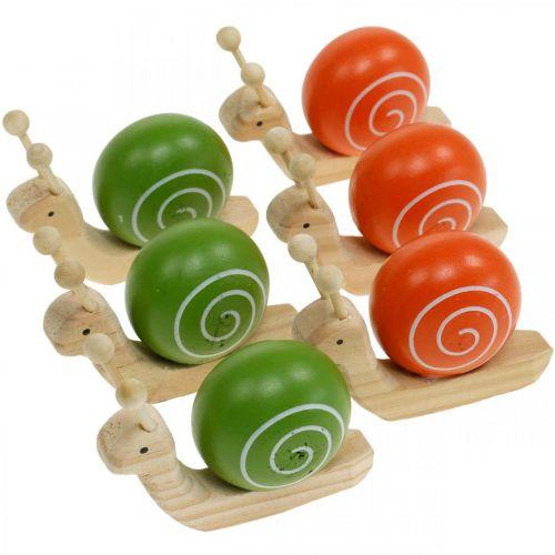 Holzschnecken zum Dekorieren, Frühling, Gartenschnecke Grün-Orange, Tischdeko 6St