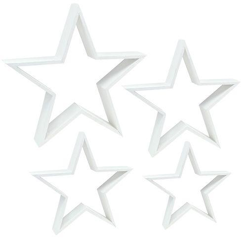 Holzstern-Set Weiß 4St