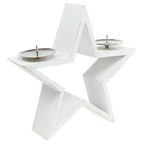 Holzstern mit 2x Kerzenhalter Weiß