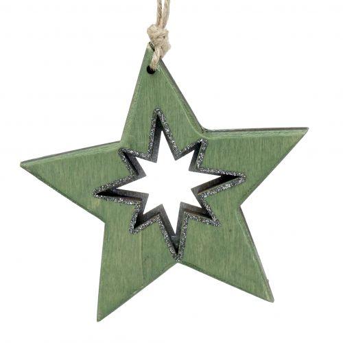 Holzstern mit Motiven Grün 11cm 6St