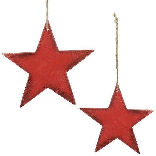Holzsterne zum Hängen 16,5cm/20cm Rot 6St