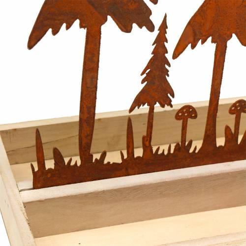 Holztablett Waldsilhouette Edelrost 30cm x 15cm