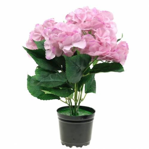 Hortensieim Topf Künstlich Rosa 35cm