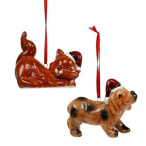 Weihnachtsfiguren mit Mütze zum Hängen 2St