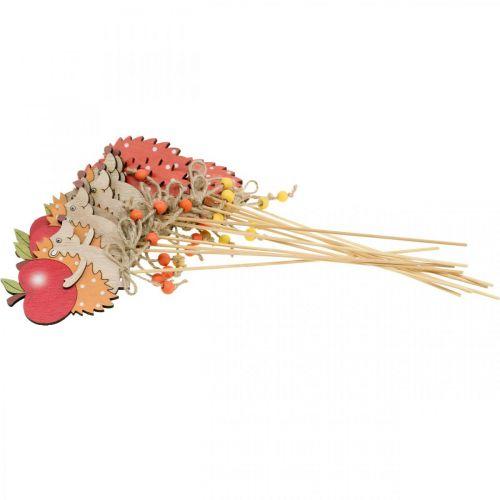 Blumenstecker Igel, Holzdeko, Herbstfigur H9,5cm L32cm 12St
