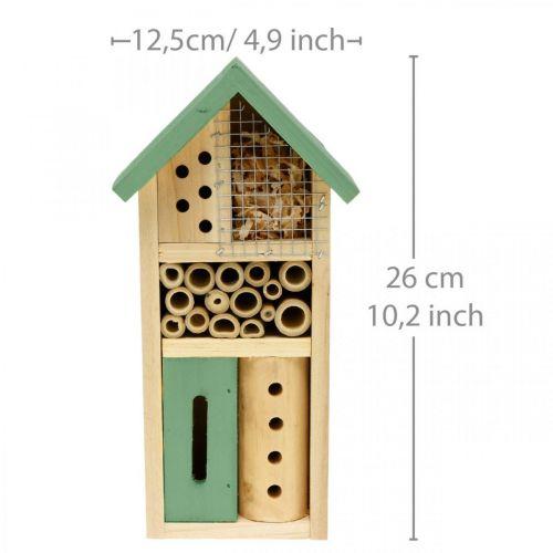 Insektenhotel Grün Holz Nisthilfe Garten Insektenhaus H26cm