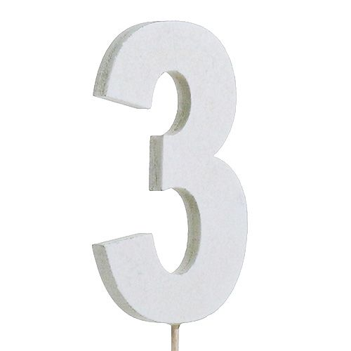 "Jubiläumszahl ""3"" am Stab Weiß L27cm 10St"