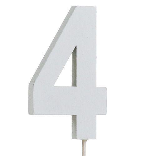 "Jubiläumszahl ""4"" am Stab Weiß L27cm 10St"