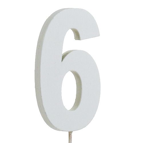 "Jubiläumszahl ""6"" am Stab Weiß L27cm 10St"