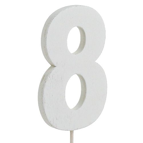 "Jubiläumszahl ""8"" am Stab Weiß L27cm 10St"