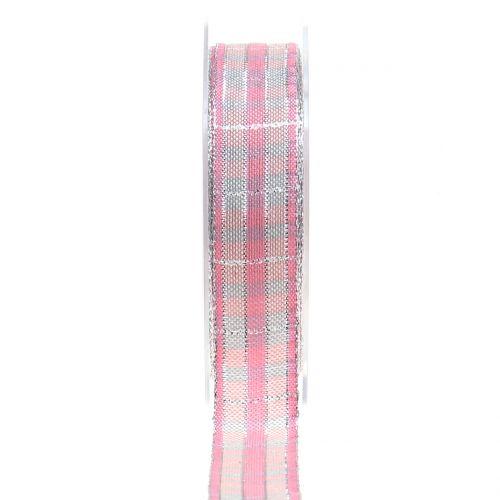 Karoband mit Glimmer Rosa-Silber 25mm 15m