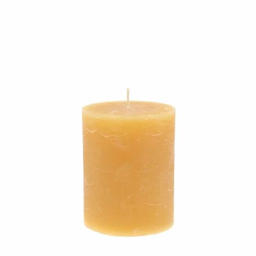 Durchgefärbte Kerzen Honigfarben 70×80mm 4St
