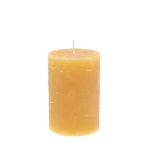 Durchgefärbte Kerzen Honigfarben 70×100mm 4St