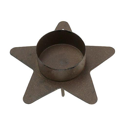Kerzenhalter Sternform für Teelichter 10x7cm braun