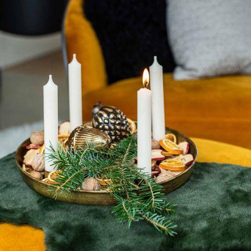 Kerzenteller, Adventskranzschale, Weihnachtsdeko Golden Antik-Optik Ø30cm