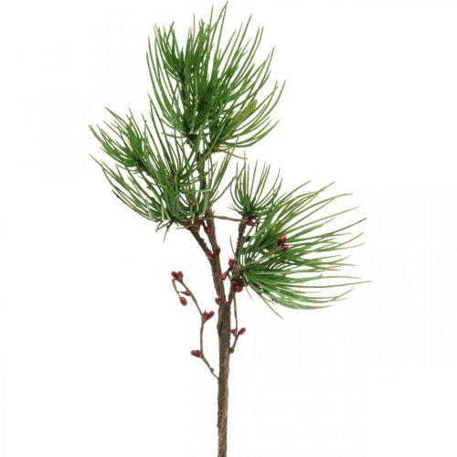 Dekozweig Kiefernzweig künstlich mit Beeren Grün, Rot 58cm