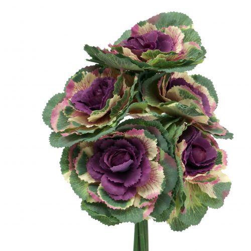 Künstlicher Zierkohl Violett, Grün 25cm 6St