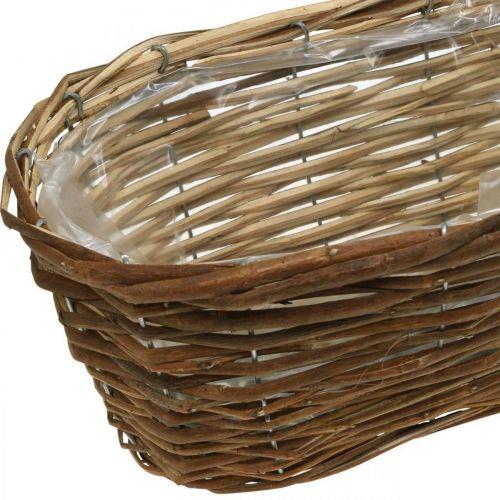 Korbschale, Pflanzgefäß, Holzkorb zum Bepflanzen Natur L41cm H13,5