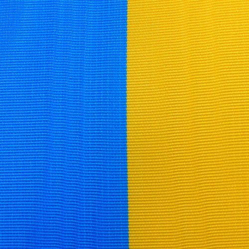 Kranzbänder Moiré blau-gelb 125 mm