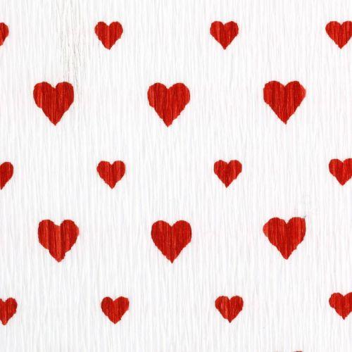 Krepppapier mit Herzen Floristenkrepp Muttertag Rot, Weiß 50×250cm