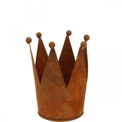 Krone aus Metall, Rostdeko zum Bepflanzen, Edelrost Ø10,5cm H13,5cm
