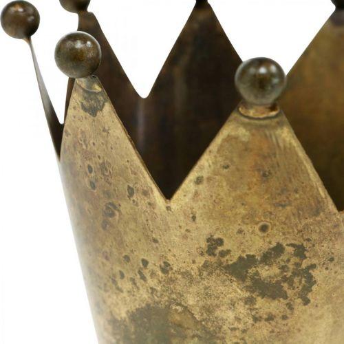 Krone Teelichthalter Metall Antik Messing-Optik Ø12,5cm H11,5cm
