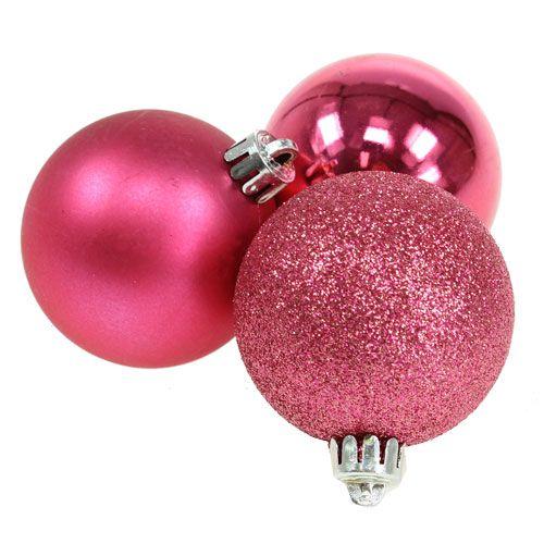 Weihnachtskugeln Pink.Kunststoff Weihnachtskugeln Pink ø6cm 10st