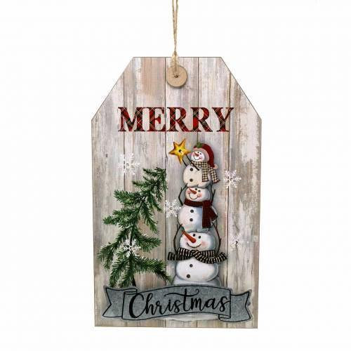 "LED-Wandbild Schneemann ""Merry Christmas"" 23×38,5cm Für Batterie"