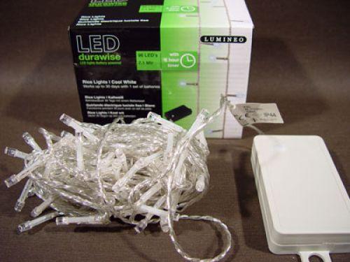 LED Reislichterkette 96er 7,1m mit Batterie & Timer Kaltweiß für außen