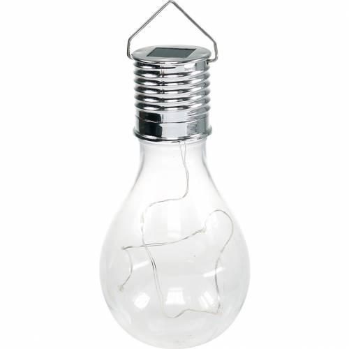 Gartendeko Solar-LED-Leuchte Glühbirne Transparent Warmweiß H15cm