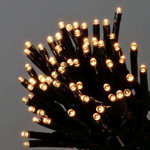 LED Lichterkette 144er Schwarz, Warmweiß für Außen 1,2m