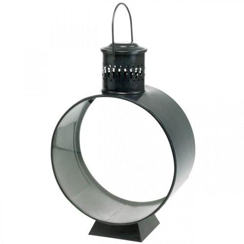 Runde Deko-Laterne, Kerzendeko Rustikal, Metallwindlicht Ø20cm H30cm