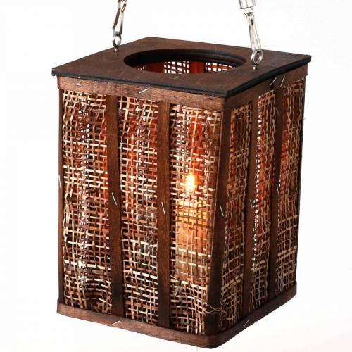 Laterne mit Flechtmuster, Kerzendeko zum Hängen, Holzwindlicht H41cm