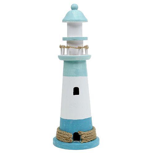Leuchtturm Ø10cm H30cm Blau-Weiß