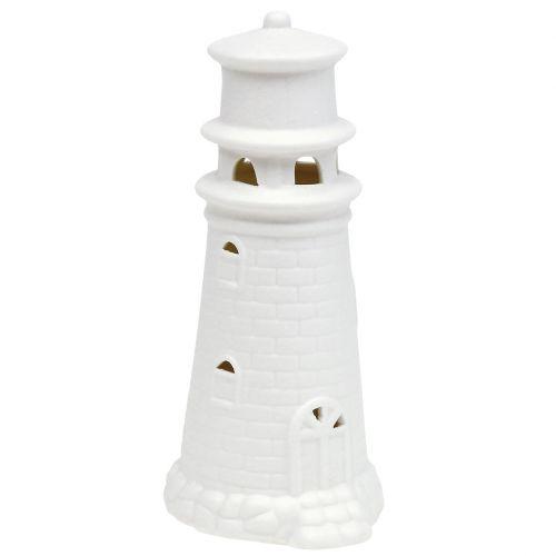 Leuchtturm mit LED 17,5cm Weiß matt