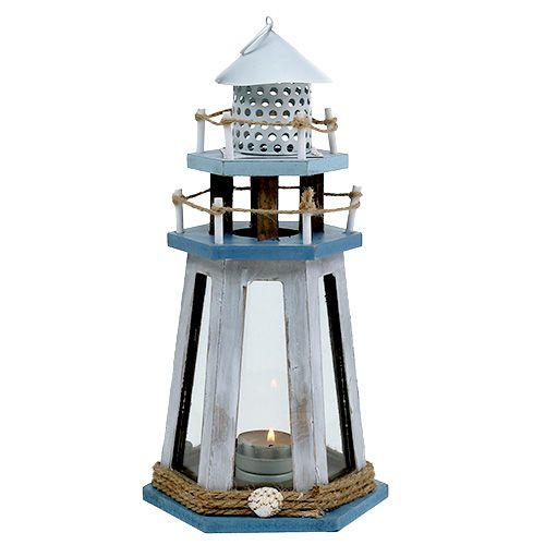 Leuchtturm als Teelichthalter Natur-Blau H32cm