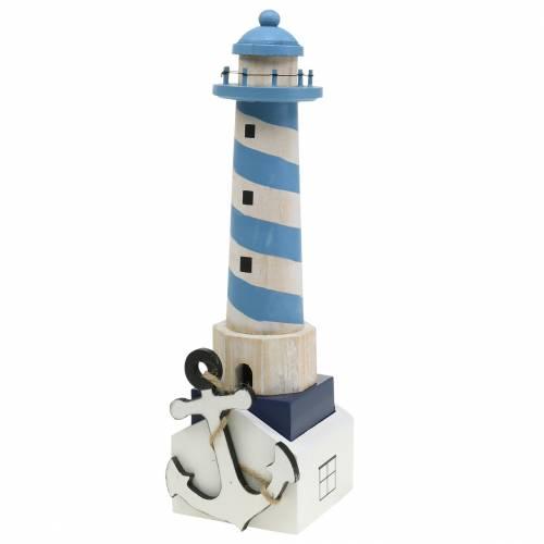 Maritime Deko Leuchtturm Hellblau 34cm