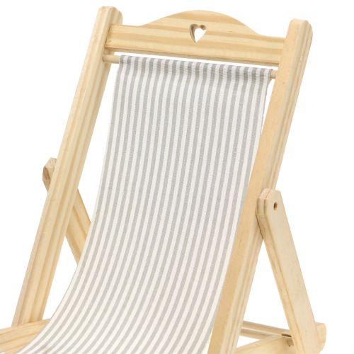 5 x 3,5 cm blau-wei/ßer Stoffsitz Deko-Liegestuhl Holz