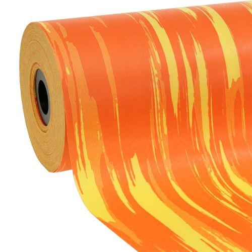 Manschettenpapier gestreift Orange, Gelb 25cm 100m